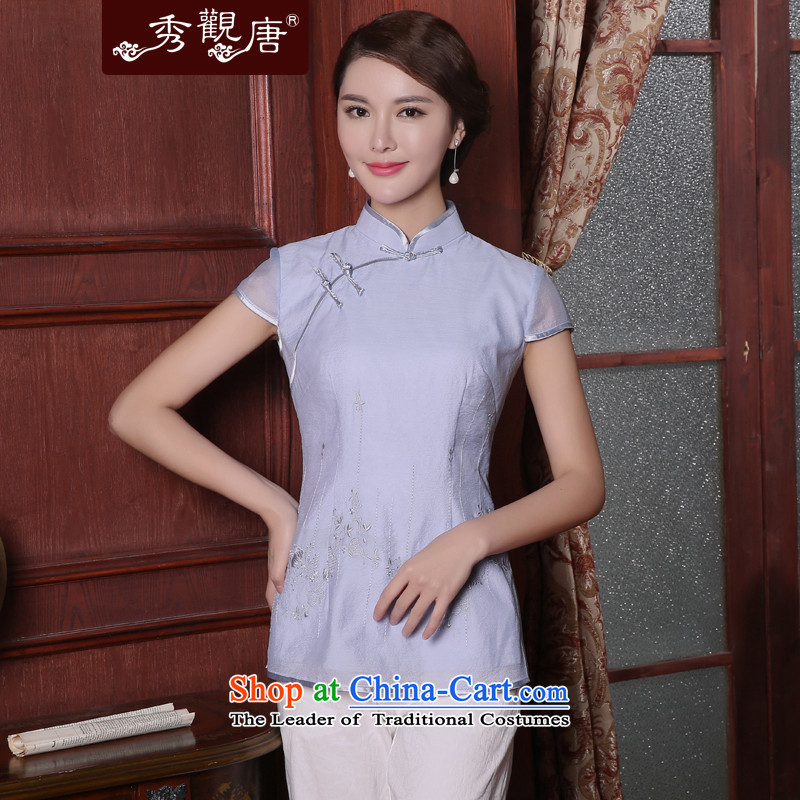 -Sau Kwun Tong- Priority Club 2015 Summer Sin New Tang Blouses Chinese Tang dynasty improved female light blue燲XL