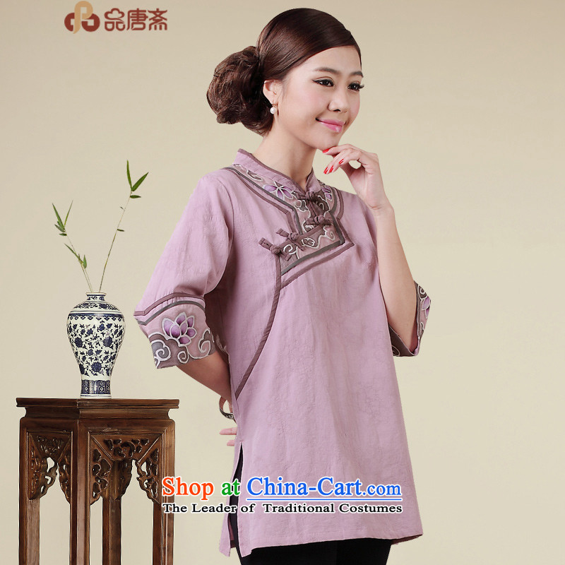 No. Tang Ramadan cotton linen Tang dynasty women of ethnic retro women short-sleeved T-shirt qipao light purple?S