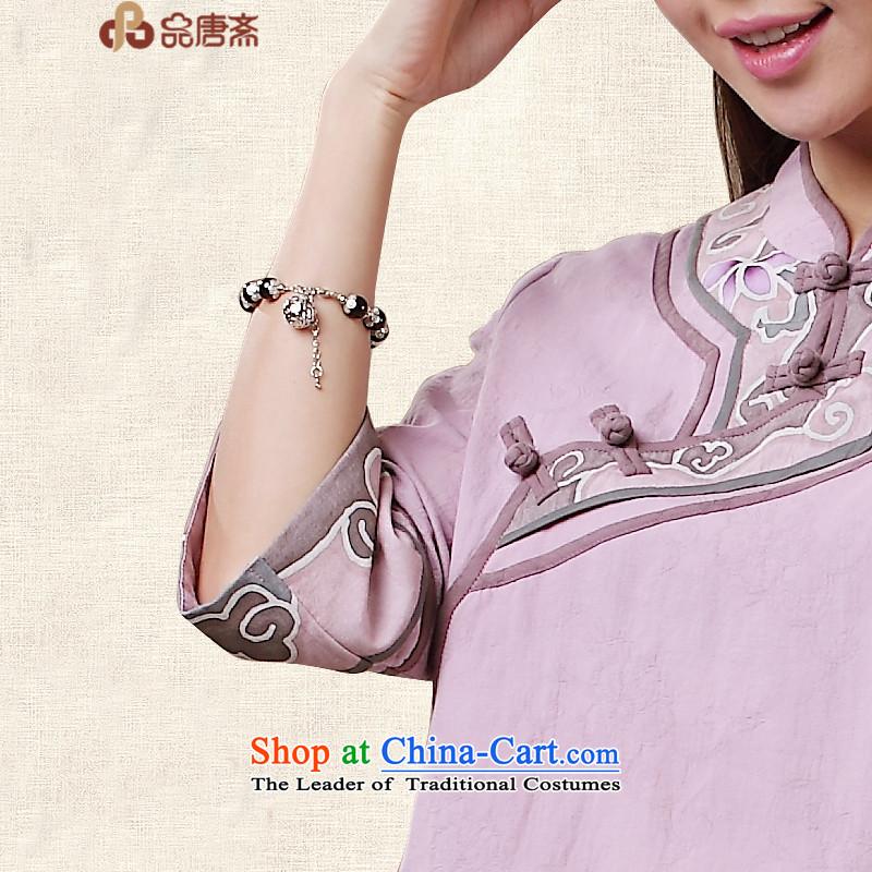 No. Tang Ramadan cotton linen Tang dynasty women of ethnic retro women short-sleeved T-shirt, light purple qipao and Tang Ramadan , , , shopping on the Internet