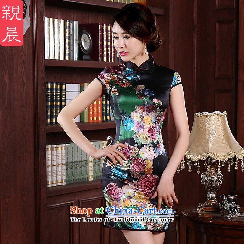 The pro-am silk cheongsam dress 2015 new summer daily retro herbs extract improved couture cheongsam dress suit燤