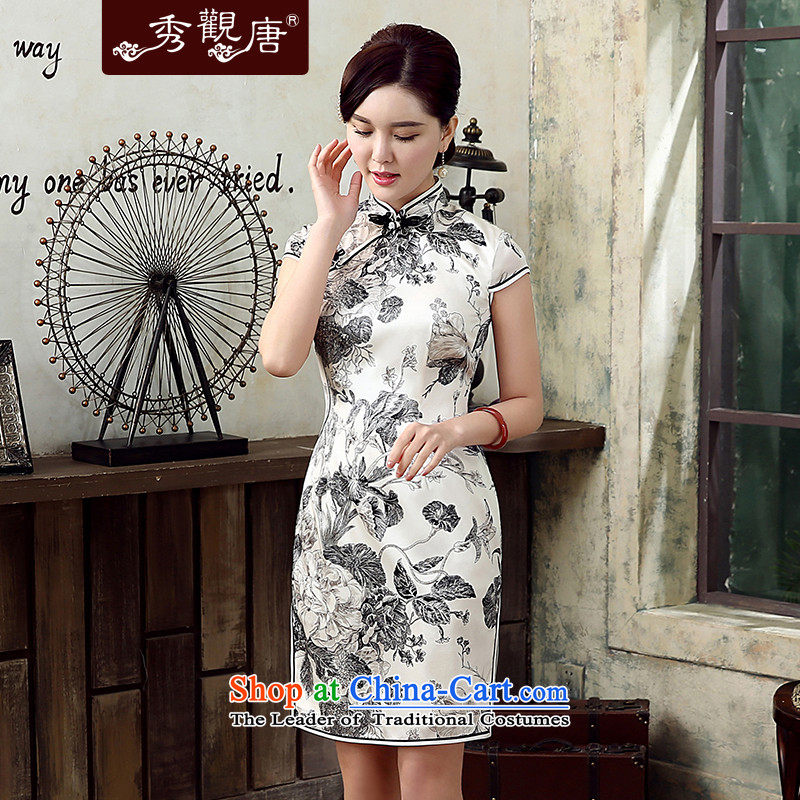 [Sau Kwun Tong] Summer Night Flower Summer 2015 new upscale Silk Cheongsam retro women's dresses gray and white?XL