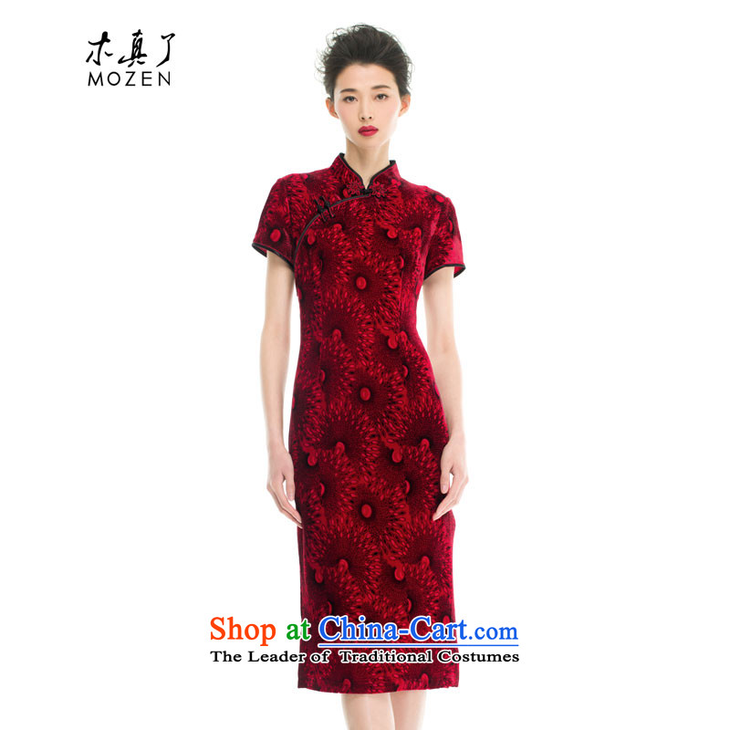 Wooden spring and summer of 2015 really new Chinese silk cheongsam dress Sau San mother with half sleeve wedding dresses 43201 04 deep red燤