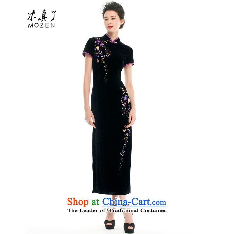 Wooden spring and summer of 2015 really new Chinese collar repair your hand tie really long cheongsam mom with velvet 43205 CHASSIS 01 black Xxl_a_
