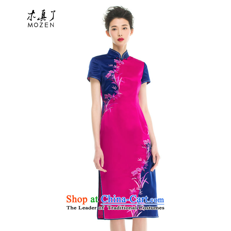 Wood in spring and summer of 2015 really new Chinese collar stitching dual color embroidery mother qipao 43283 bird 18 PINK M