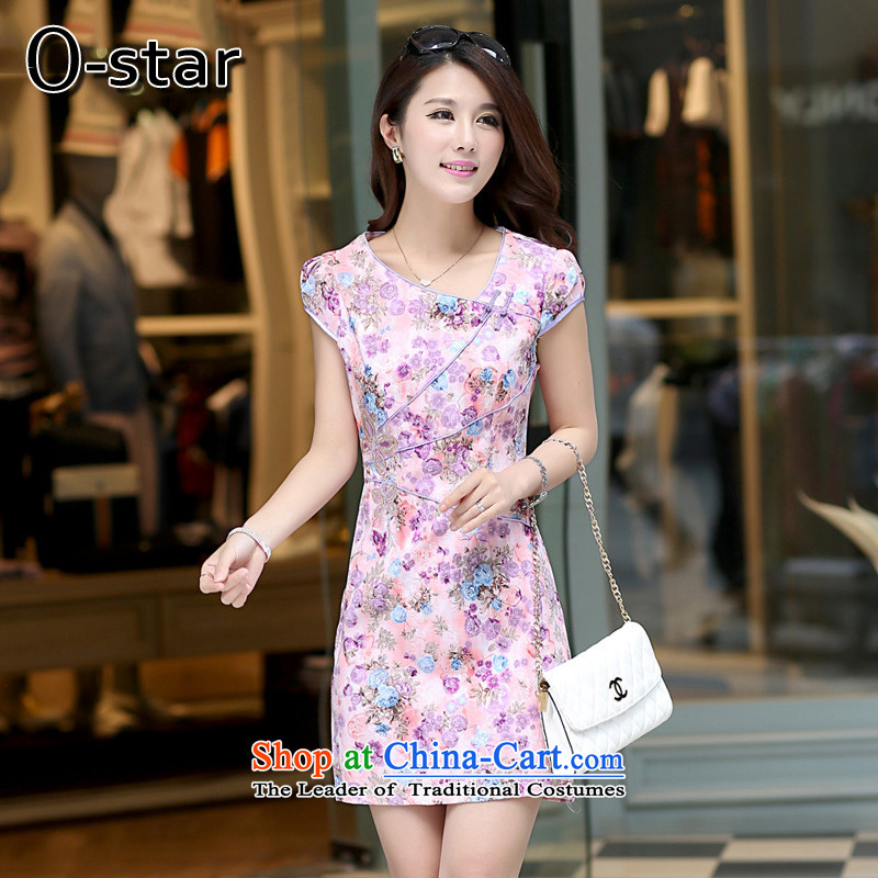 The spring and summer of 2015 New o-star of daily short of Qipao retro improved graphics thin cheongsam dress Sau San Saika-dress with a light purple?XL