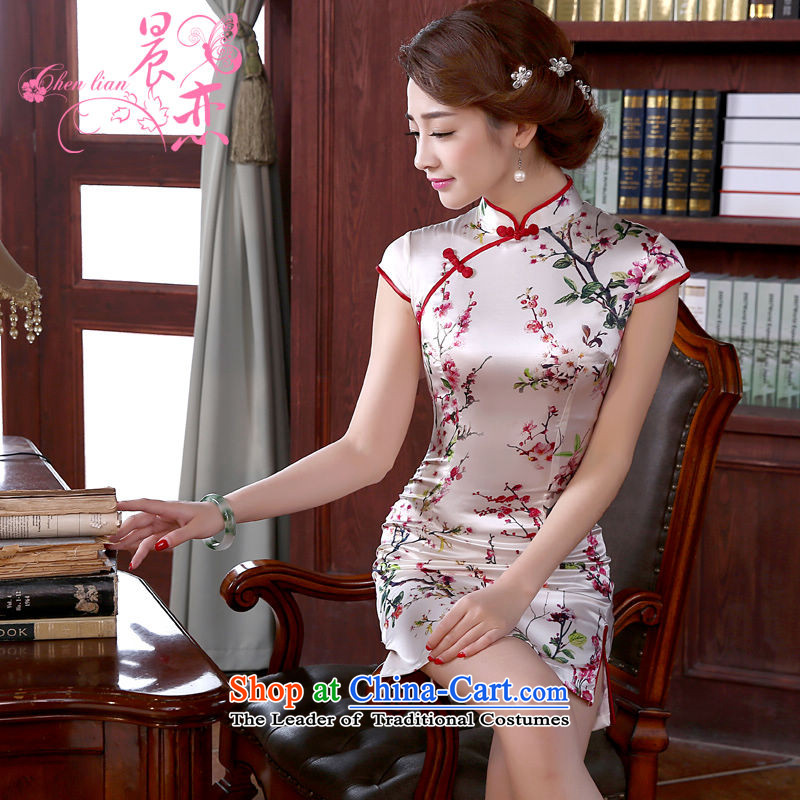 The new land morning 2015 summer short of improvement and Stylish retro herbs extract silk CHINESE CHEONGSAM Hung Mui dresses?155/S Light Gray