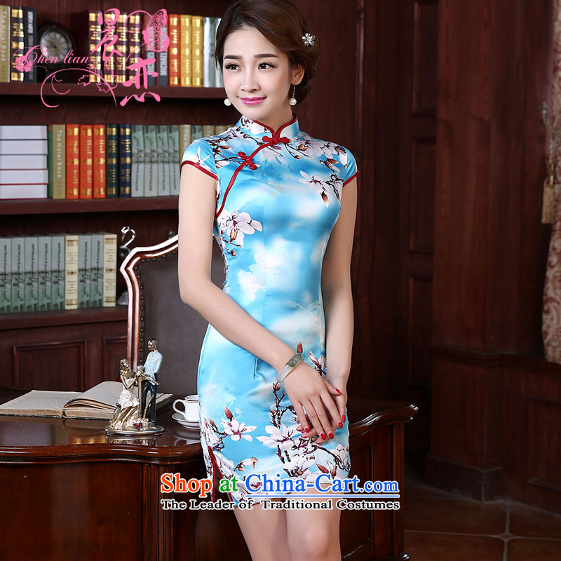 Morning new qipao land 2015 summer short of improvement and Stylish retro herbs extract Chinese Silk Cheongsam Magnolia light blue燤
