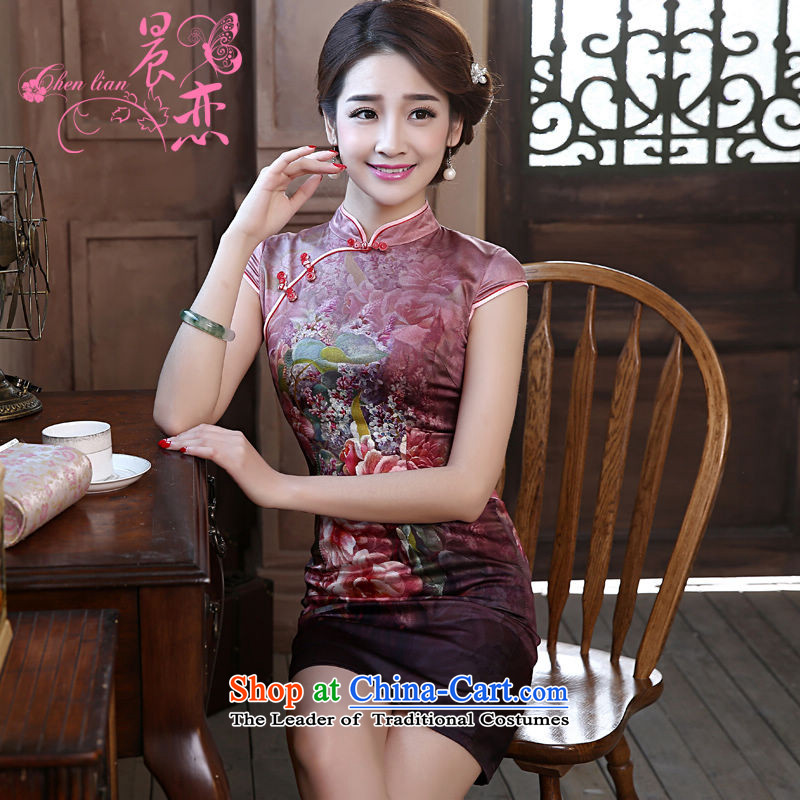 The new land morning 2015 summer short of improvement and Stylish retro double herbs extract silk CHINESE CHEONGSAM fine purple燤