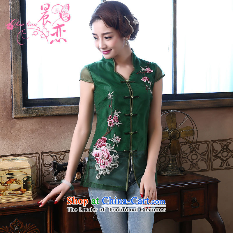 Morning new qipao Land summer short of improvement and Stylish retro CHINESE CHEONGSAM short-sleeved T-shirt OSCE root yarn embroidery?155/S green