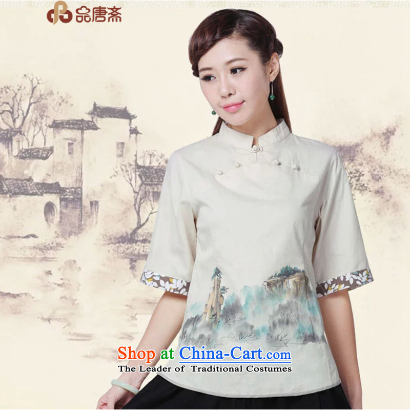 No. of Ramadan Chinese cotton linen Tang Tang Women's clothes China wind retro female in the short-sleeved T-shirt qipao raw load color M