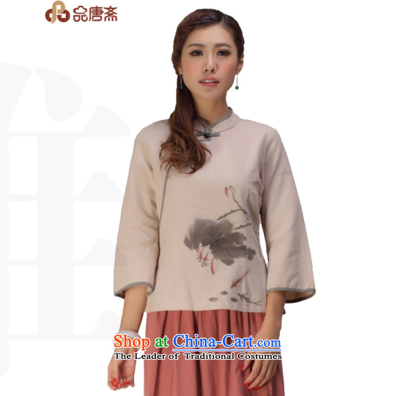 No. of Ramadan Chinese cotton linen Tang Tang dynasty women of ethnic retro women improved Han-load short apricot color T-shirt qipao燲XL