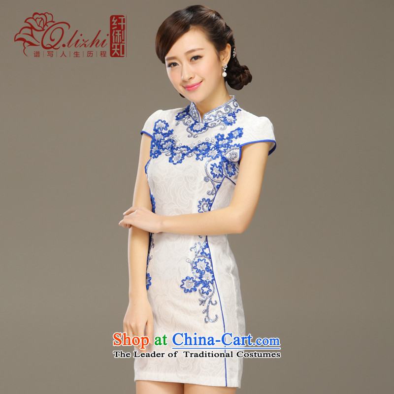 The former Yugoslavia Li aware flow fluorescence�15 Summer classic modern retro Sau San Graphics Improvement thin short cheongsam dress燪LZ15Q6041爁low fluorescence燲L