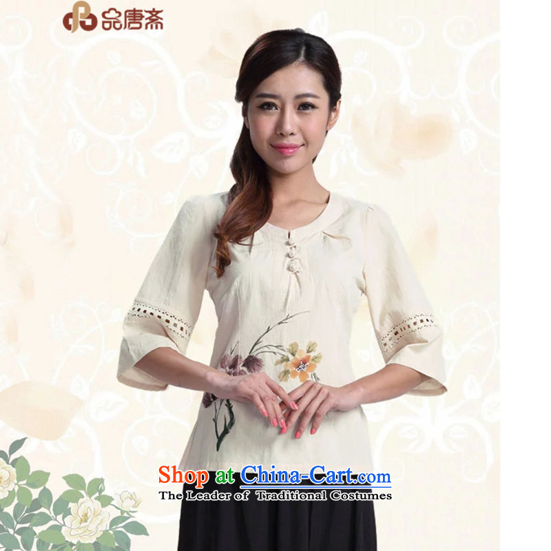 No. of Ramadan ethnic retro Tang Tang dynasty women fall inside the new Chinese qipao cotton linen clothes apricot?S