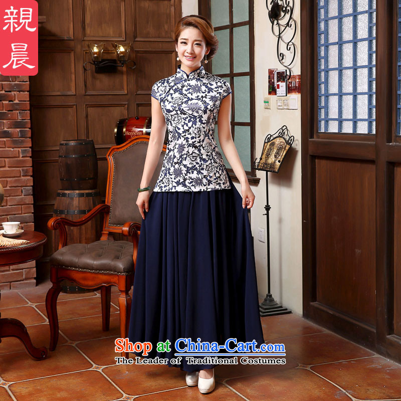 銆� pro-am- 2015 new summer porcelain everyday clothes retro style short of improved qipao T-shirt + T-shirt skirts聽S