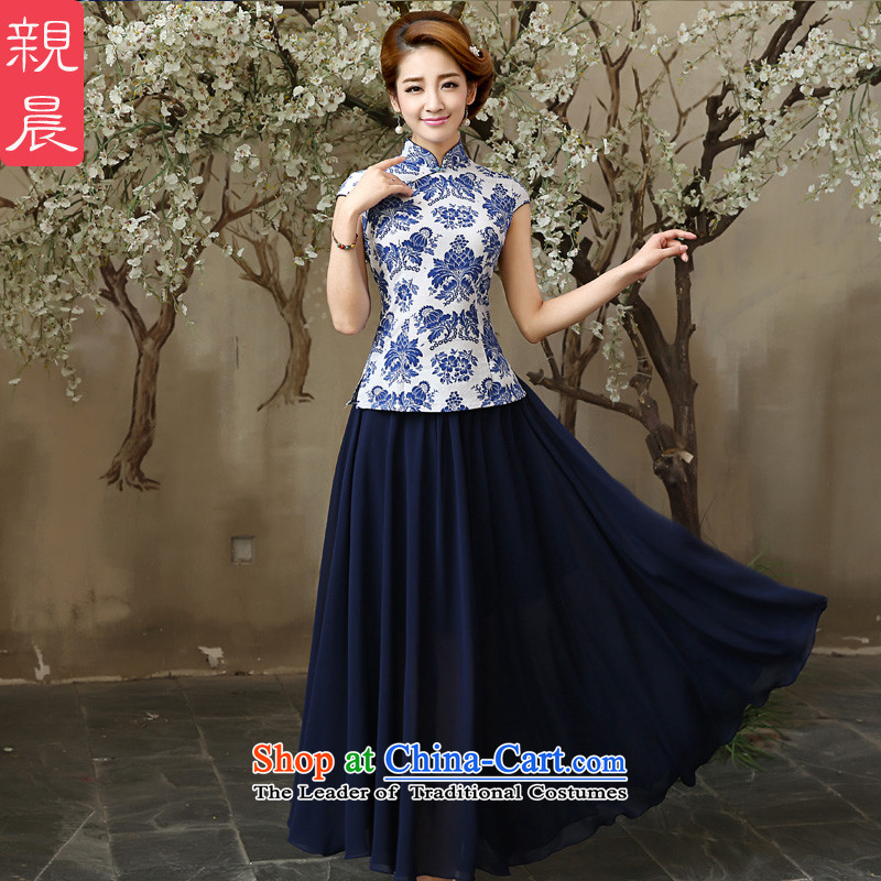 The pro-am in summer and autumn day-to-day new improvement, Retro ethnic Sau San cotton linen dresses porcelain cheongsam dress聽XL-t-shirt shirt + waist 77cm Hold