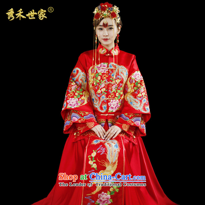 Sau Wo Saga Soo-Wo Service service bridal dresses Sau Wo Chinese wedding dress 2015 new red bows wedding dress retro-soo Kimono clothes set of Qipao聽M