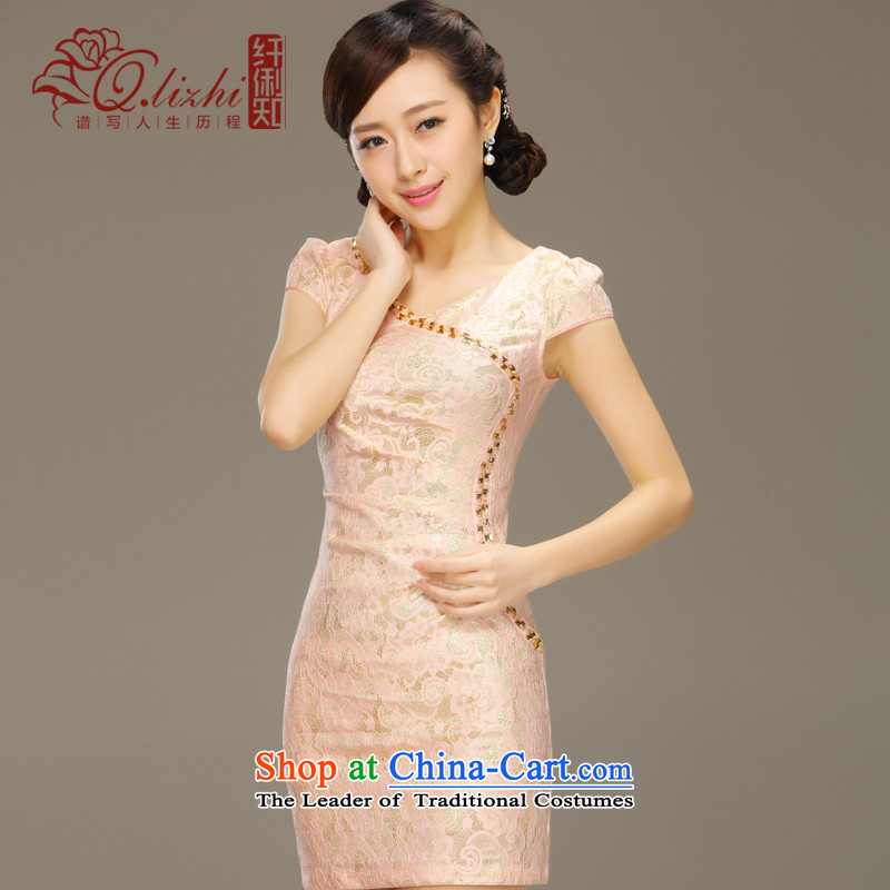 The former Yugoslavia on the basis of known Li dance cheongsam dress summer short daily retro style improvement Sau San lace summer gown female QLZ15Q6024 dance on the basis of M