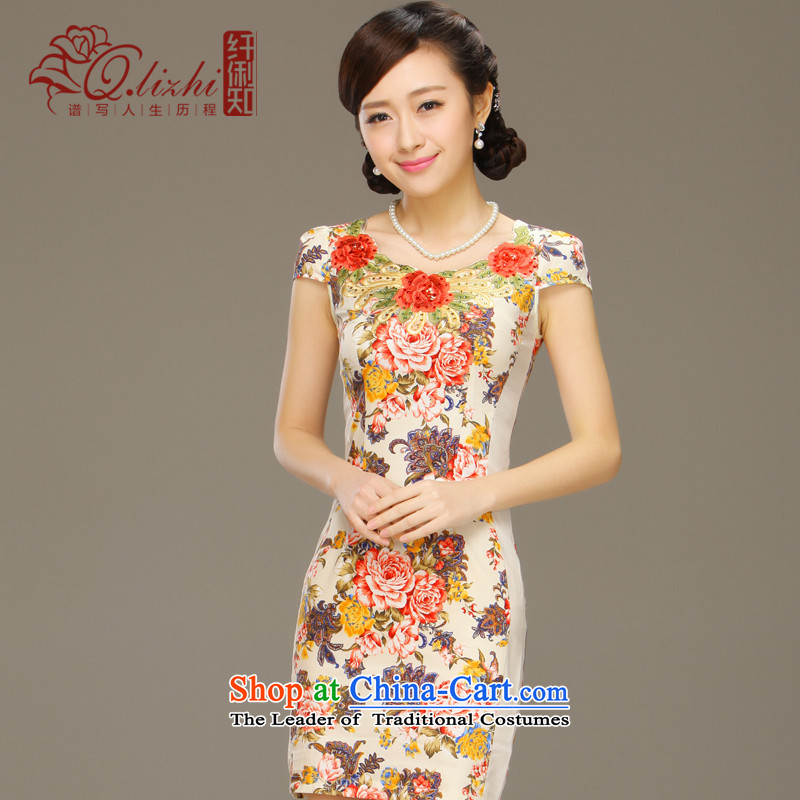 The former Yugoslavia of the nation known Li Lau suit the new dresses China wind classical female embroidery cheongsam dress QLZ15Q6026 retro Lau of the XL