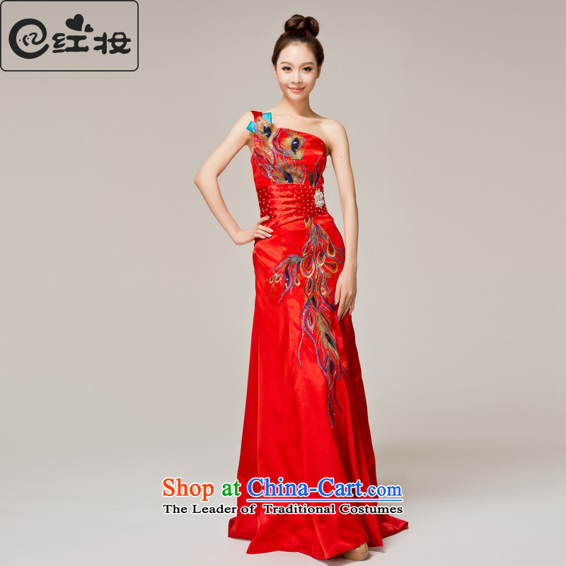 Recalling that hates makeup and stylish shoulder cheongsam red spring and summer wedding bride services Chinese qipao bows long gown Q12059 RED?L