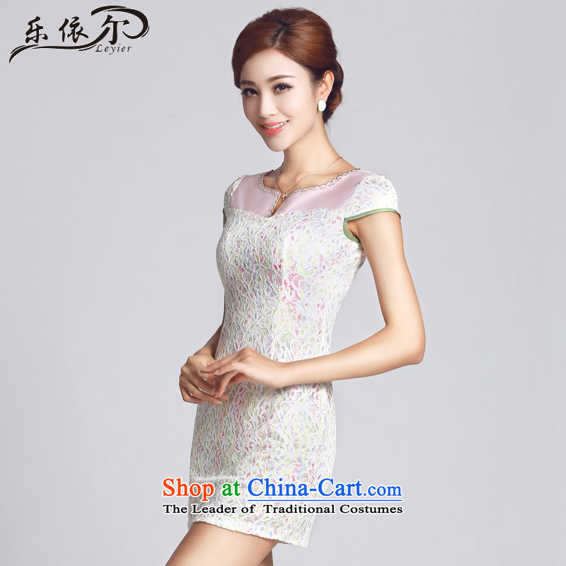 In accordance with the American, lace pattern improved women's dress qipao short daily gentlewoman LYE66605 white?S