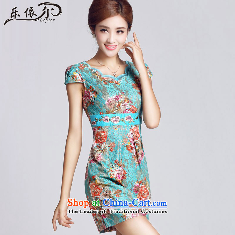 In accordance with the American lady's classical antique flower embroidery daily qipao cheongsam dress LYE33306 short green燲L