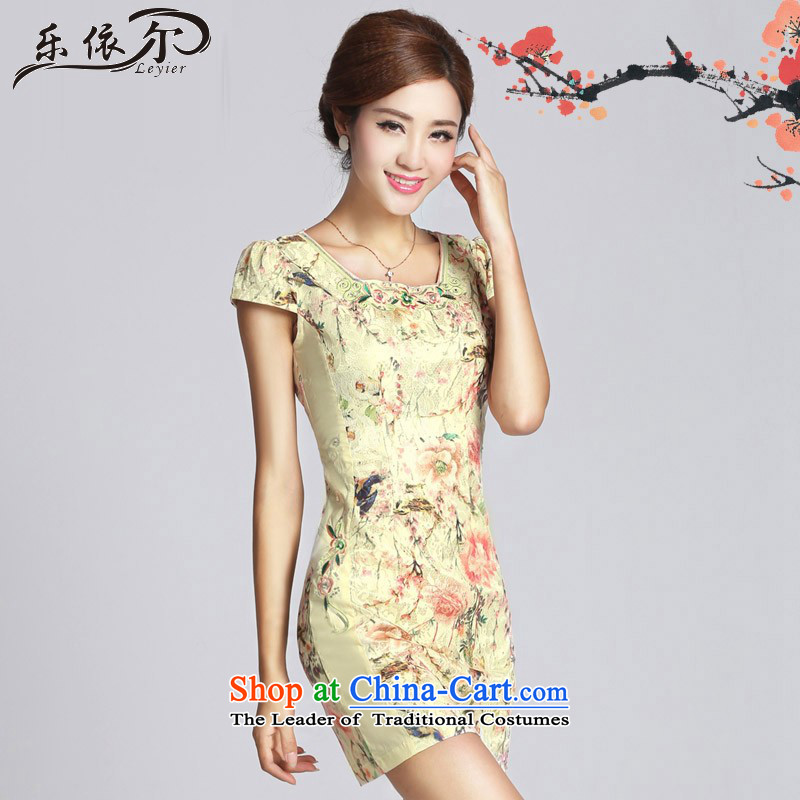 In accordance with the American's retro embroidery flower girl short of qipao cheongsam dress LYE33308 daily Sau San apricot燤