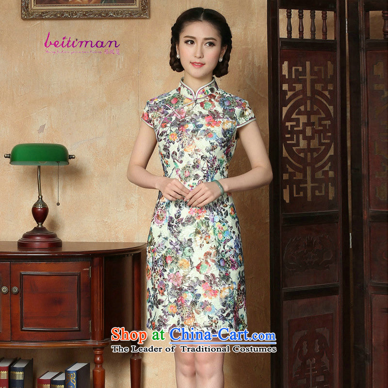 New Products For Summer 2015 China wind stylish stamp Mock-neck cheongsam dress brands women national wind in long qipao figure燲L