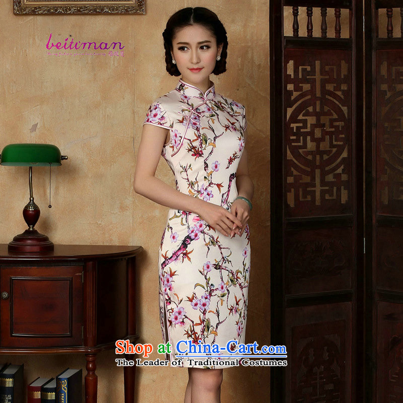 Mrs Ingrid Yeung as Overgrown Tomb for?summer 2015 new short-sleeved ethnic short of daily cheongsam dress improved girls stylish embroidery cheongsam figure?XXL
