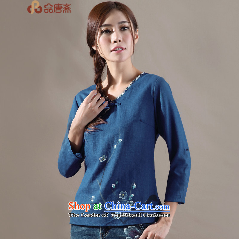 Tang Tang Dynasty Ramadan No. female new national, the autumn wind retro women improved Han-blue long-sleeved shirt?L