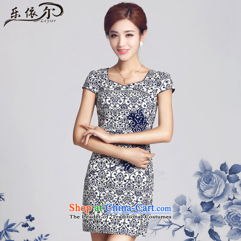 In accordance with the American's qipao porcelain retro ethnic improved cheongsam dress retro LYE66615 daily porcelain?XXL