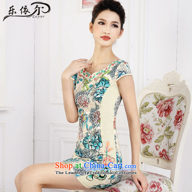 In accordance with the American short cheongsam dress female retro stamp improved embroidery girls qipao LYE66610 daily green?L