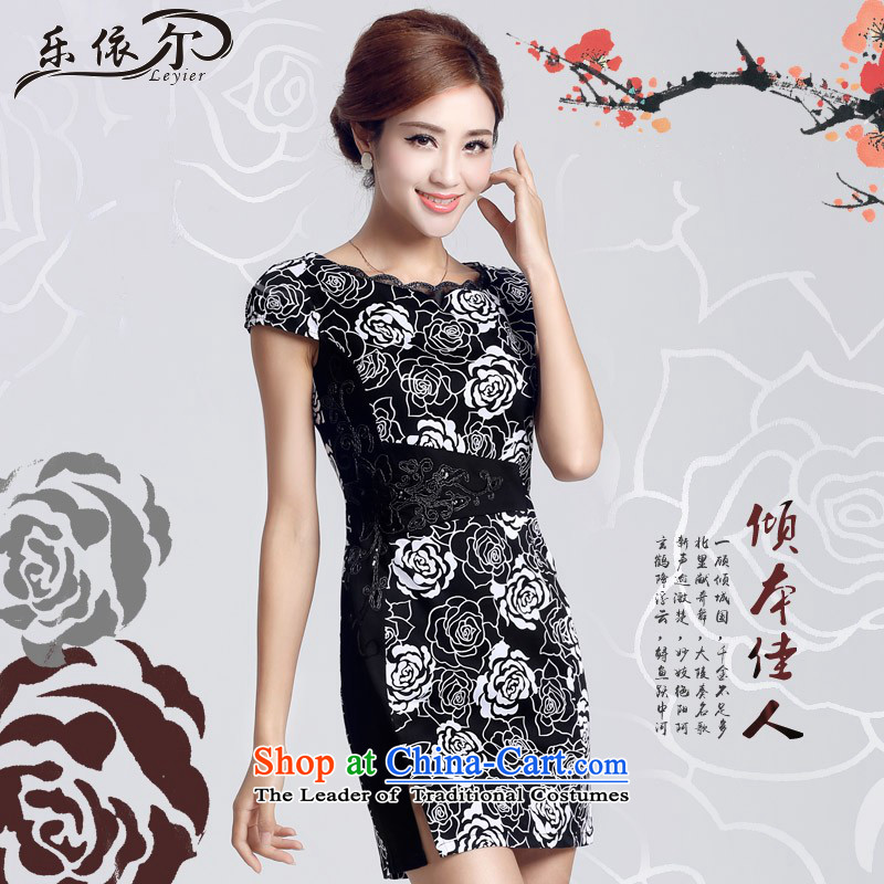 In accordance with the American Girl qipao retro, low-to-day of the forklift truck, improved short skirt LYE66608 embroidery cheongsam black?XXL