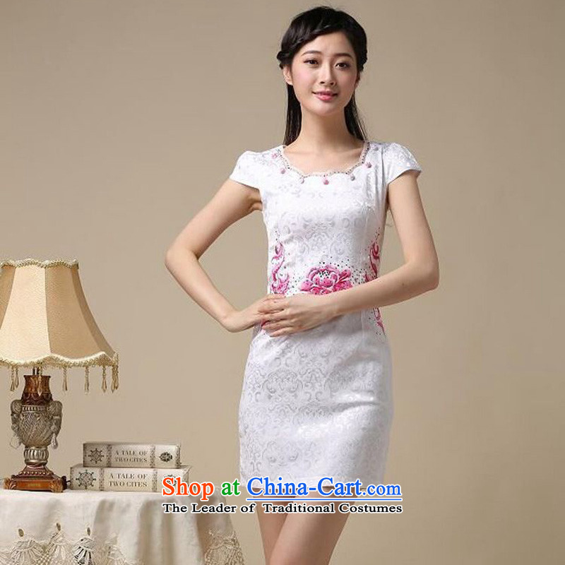 2015 Summer forest narcissus new retro short-sleeved round-neck collar improvement package and stylish embroidery Sau San Tong JAYT-50 replacing red qipao燬