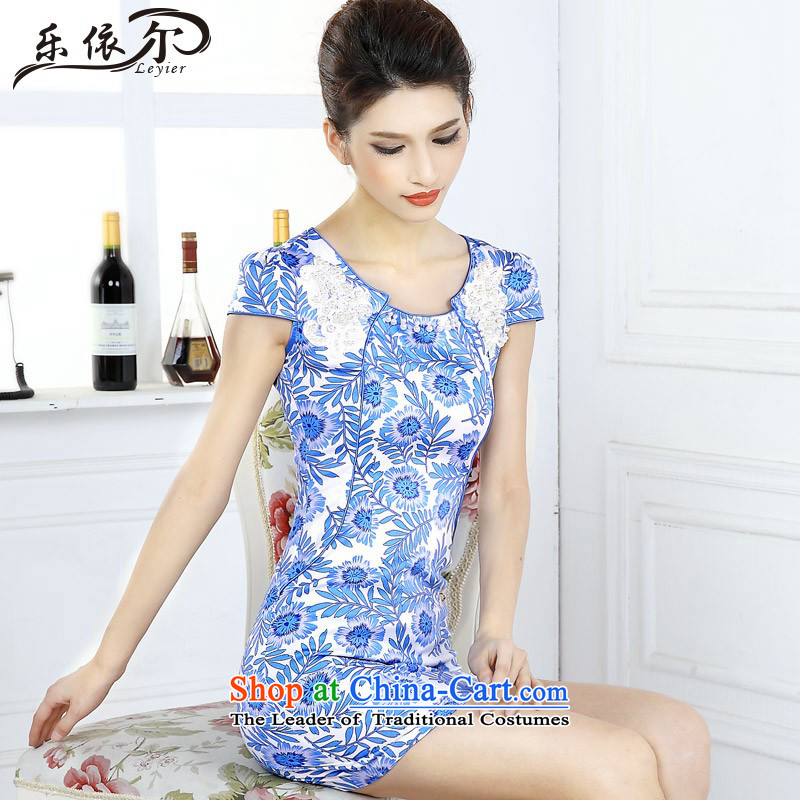 In accordance with the American, porcelain cheongsam dress female qipao Classic short-sleeved improved gentlewoman LYE66617 porcelain?L