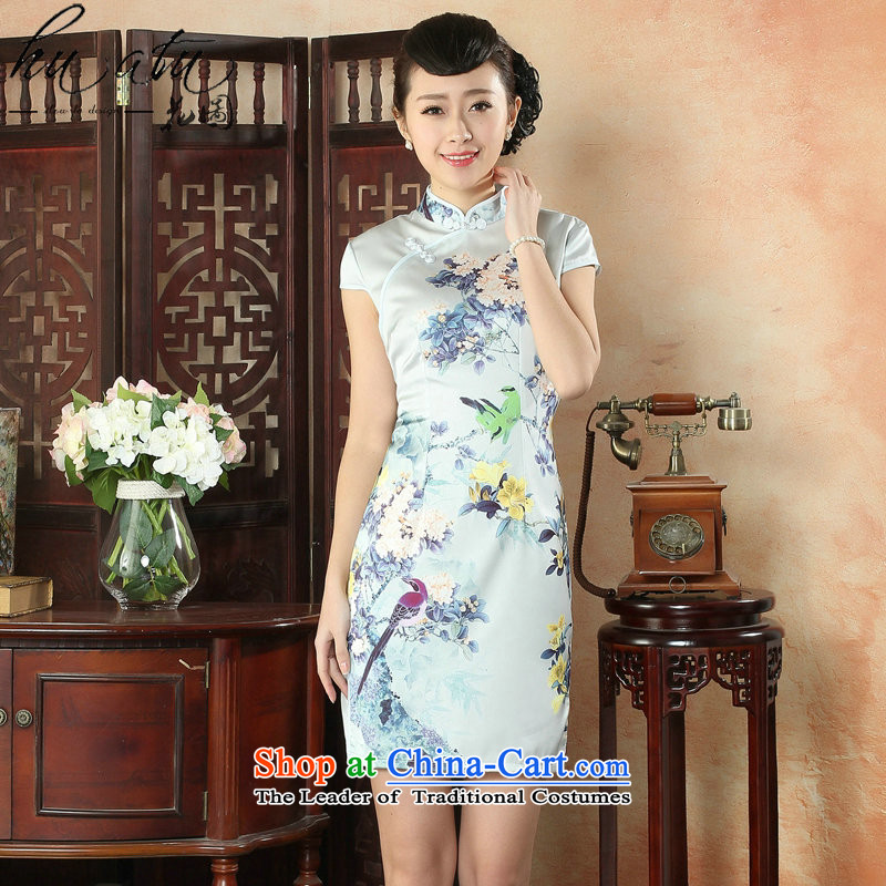 Floral qipao Women's Summer New Silk flower cheongsam improved positioning Chinese Dress daily short of Skirt�13 color�S