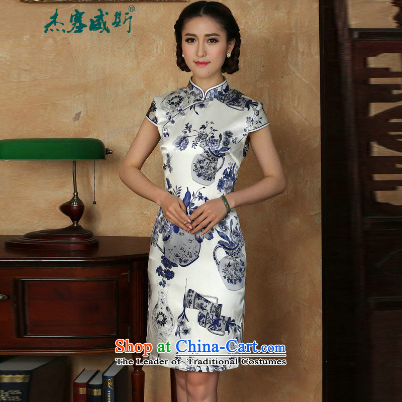C.o.d. Jie, new in women's summer elegant collar manually tray clip porcelain short-sleeved silk dresses qipao porcelain M