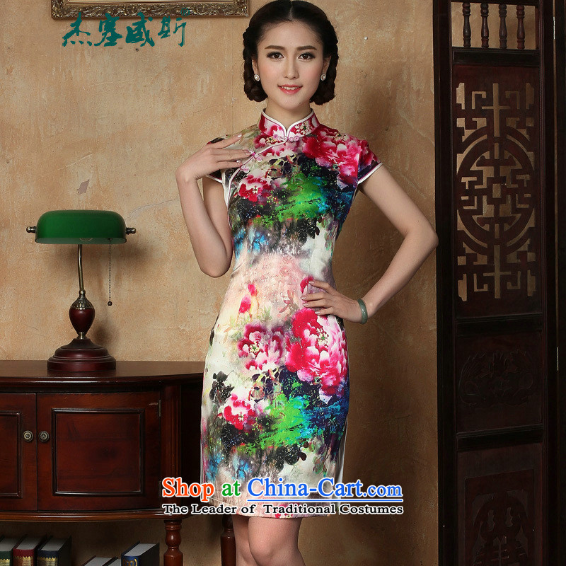 C.o.d. Jie of the new summer female elegant Sau San disk detained collar manually stamp short-sleeved dresses qipao figure燣