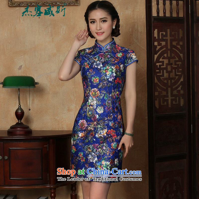 C.o.d. Jie, new in women's summer stamp lace collar short-sleeved detained manually dresses blue qipao燣