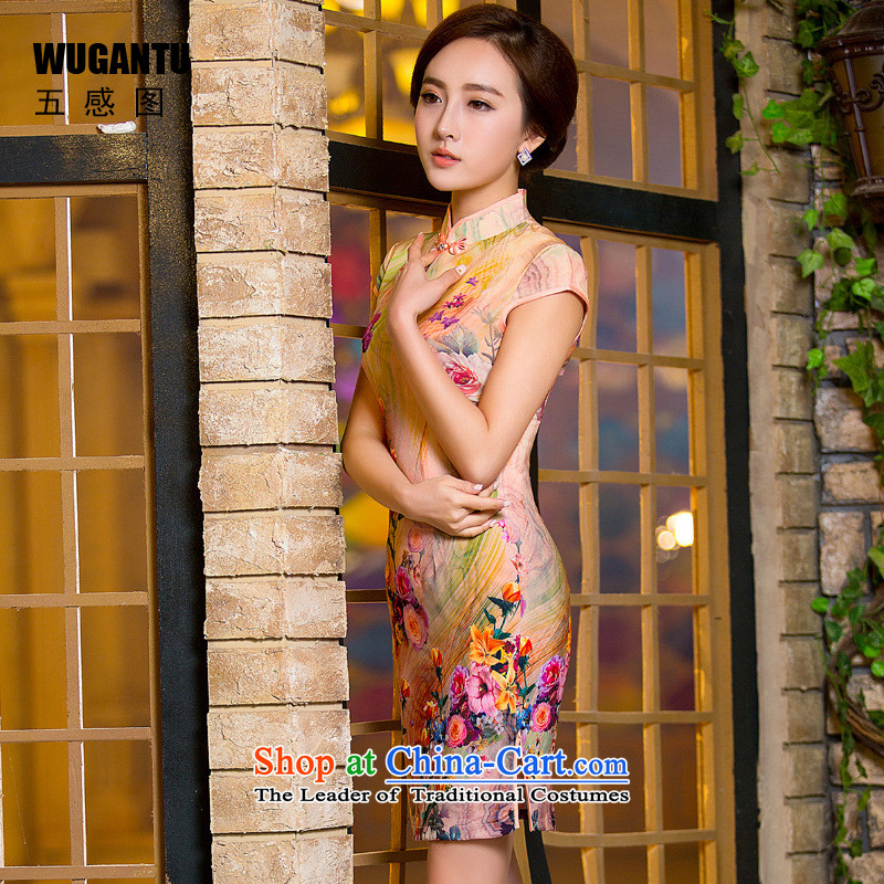 The five senses Figure Sau San sexy idyllic cheongsam dress 2015 New China wind of ethnic dress roses燱GT154爌icture color燣