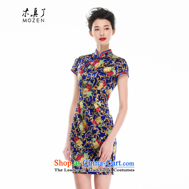 Wooden spring and summer of 2015 is really the new Chinese girl who decorated silk cheongsam dress improved women's skirt 53346 10 deep blue聽S