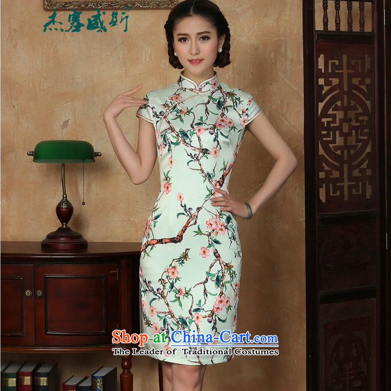 C.o.d. Jie of the new summer female stamp gentlewoman elegant collar manually short-sleeved detained dresses qipao green燲L