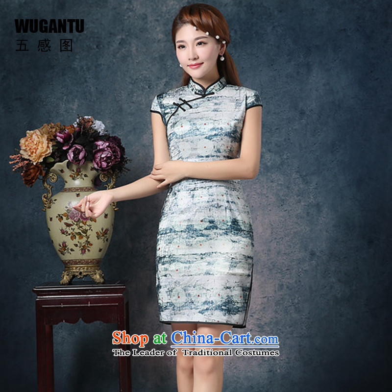 The five senses figure?new 2015 China wind daily stylish upmarket Korean population of the Sau San improved qipao gown?WGT85072 short skirt?picture color?XXL