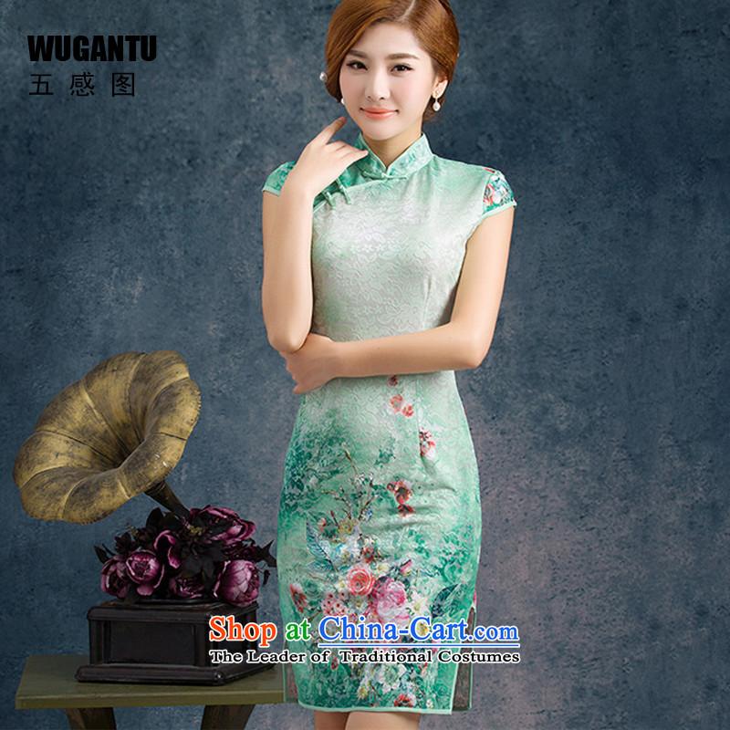 Five-sense�new improvements 2015 figure Stylish retro lace qipao gown, short upscale lace dresses�WGT75003�Black�XL
