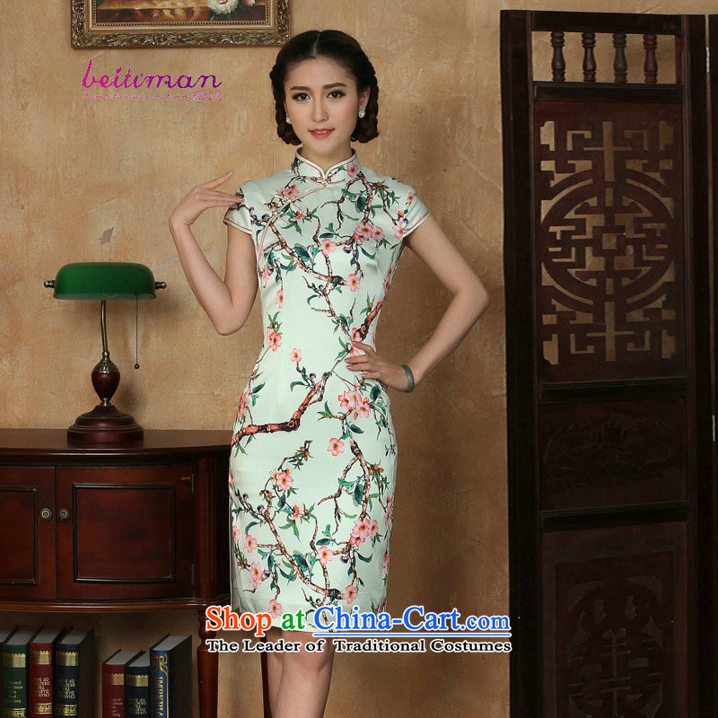Mrs Ingrid Yeung as Overgrown Tomb for爏ummer 2015 new short-sleeved ethnic short of daily cheongsam dress improved girls stylish embroidery cheongsam green燲L