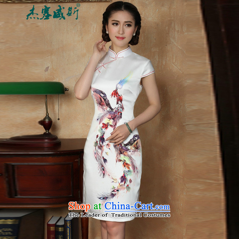 C.o.d. Jie of the new summer female stamp collar manually short-sleeved detained dresses qipao� Y5129 small Phoenix white燣