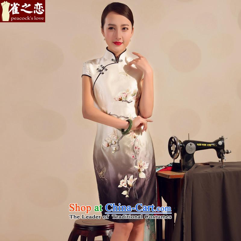 Love of birds?2015 new summer qipao skirt improved stylish heavyweight silk embroidery short of cheongsam dress White?M