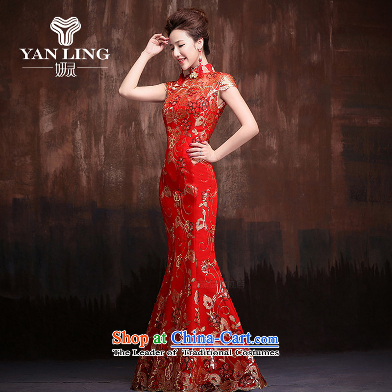 The bride red retro improved qipao marriage solemnisation 2015 new lace crowsfoot Sau San short-sleeved long temperament qipao?M