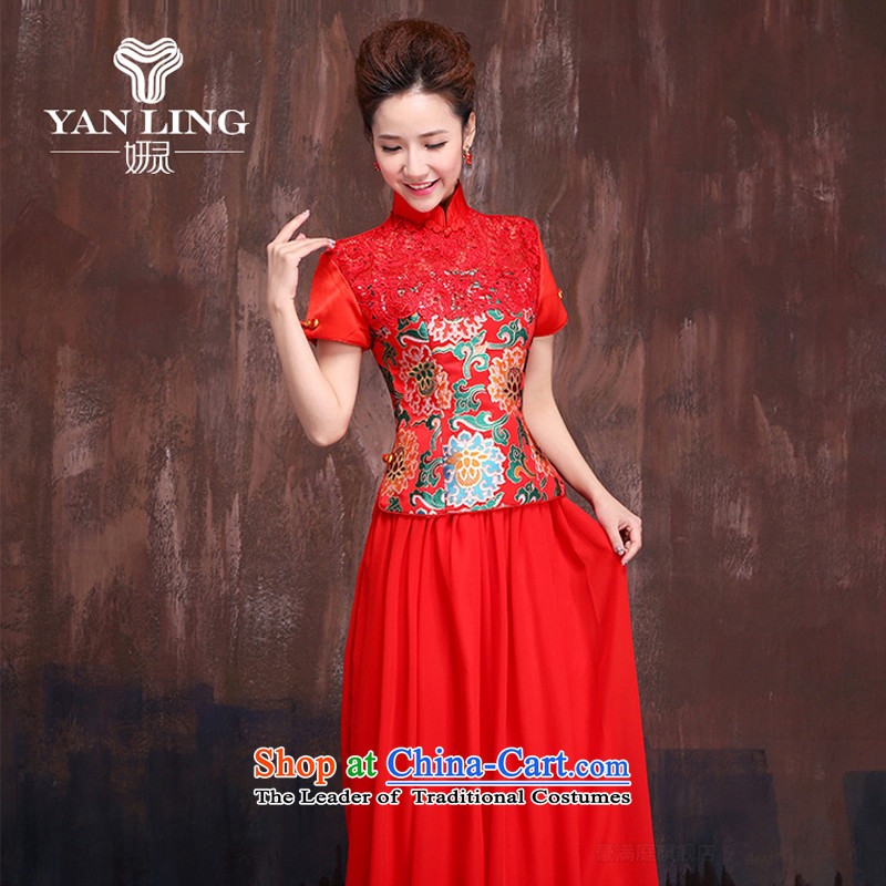 Marriages red long bows services 2015 Chinese improved short-sleeved cheongsam dress Sau San dresses聽, M, Charlene Choi spirit has been pressed shopping on the Internet