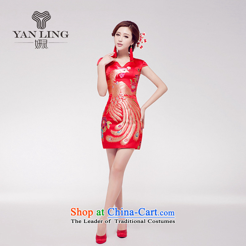 Marriages female qipao wedding dresses red short of Chinese improved services embroidery retro qipao bows M