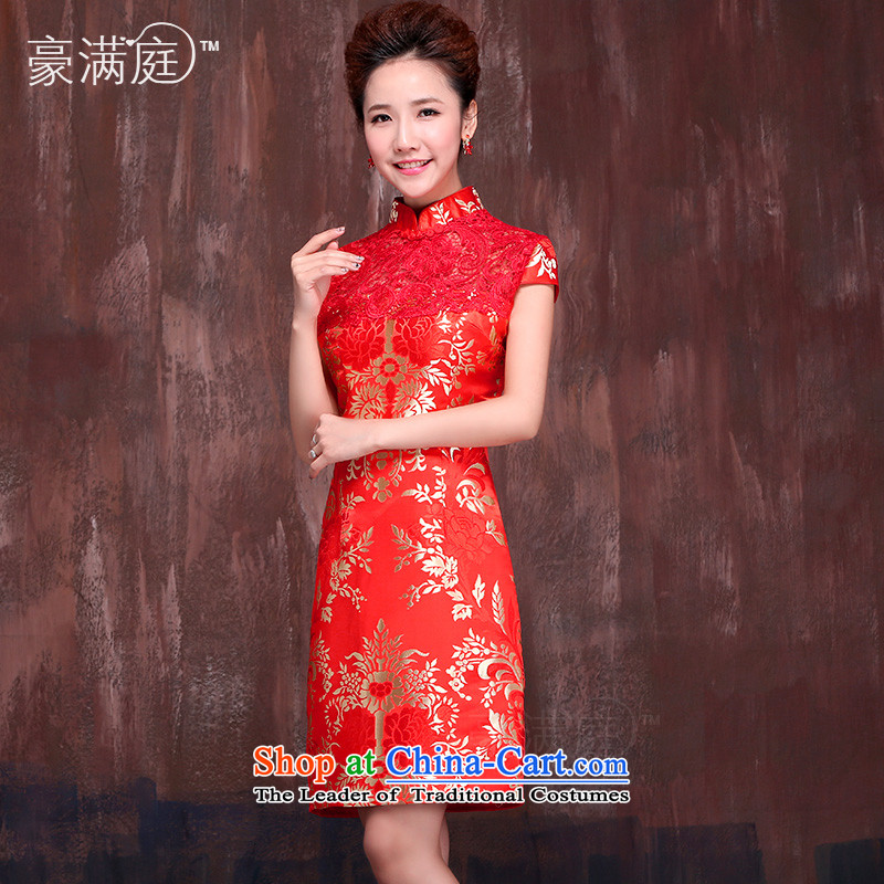 Marriages, red qipao short聽spring and summer 2015 New Stylish retro bows service improvement dress聽XXL